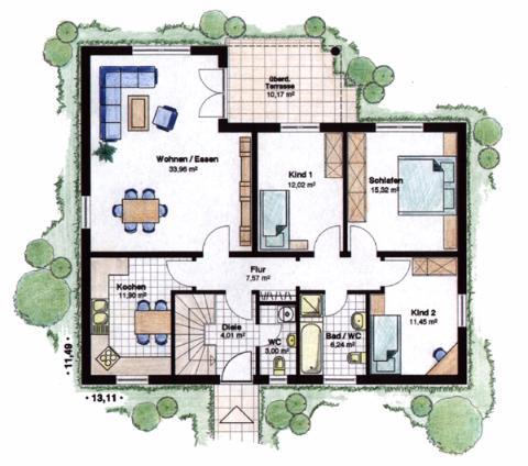 Massivhaus grundriss  STREBO Massivhaus - Winkelbungalow - 115 m² (Grundriss Erdgeschoss)